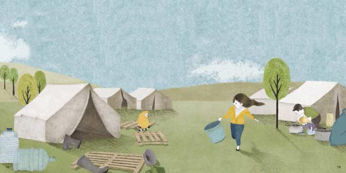 """Illustrazione di Hanake Kay per la collana """"Bambini nel mondo"""" (Giralangolo 2018)"""